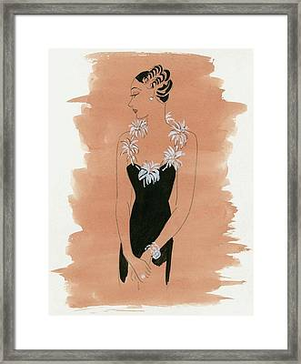 A Woman With Daisies Framed Print by Artist Unknown