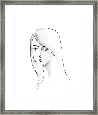 Framed Print featuring the drawing A Woman With Long Hair by Jingfen Hwu
