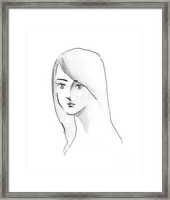 A Woman With Long Hair Framed Print