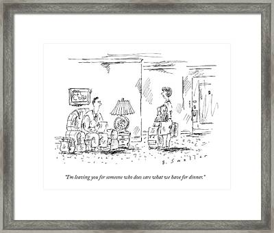 A Woman With Luggage Confronts Her Husband Framed Print