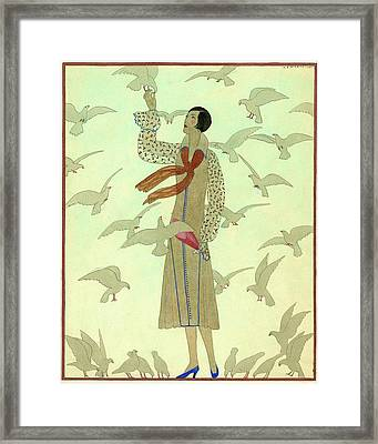 A Woman With Pigeons Framed Print