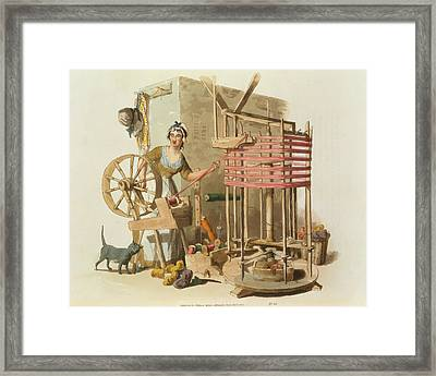 A Woman Wool Skeiner, Engraved Framed Print by William Henry Pyne