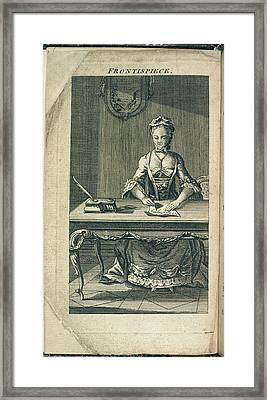 A Woman Writing Framed Print by British Library