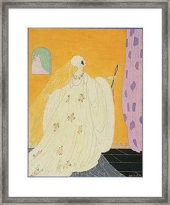 A Women Wearing A White Dress Framed Print