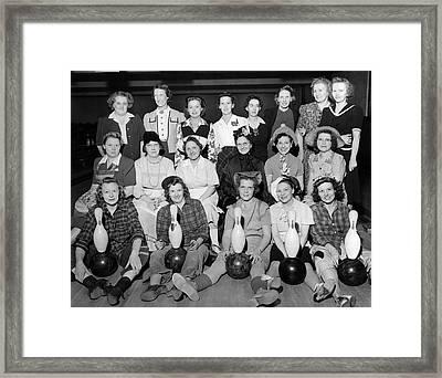 A Women's Bowling Team Framed Print