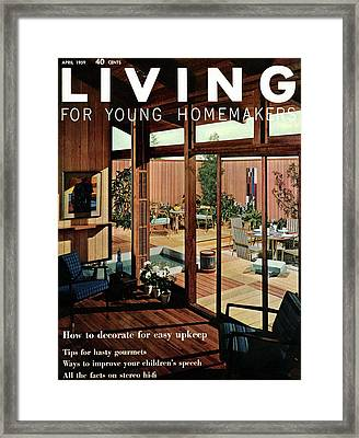 A Wood Paneled Living Room Framed Print by Ernest Silva