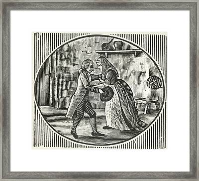 A Woodcut Of A Man And A Woman Embracing Framed Print