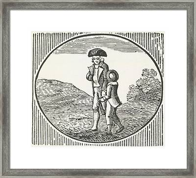 A Woodcut Of A Man And Boy Walking Togeth Framed Print by British Library