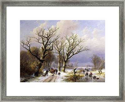 A Wooded Winter Landscape With Figures Framed Print by Verboeckhoven and Klombeck
