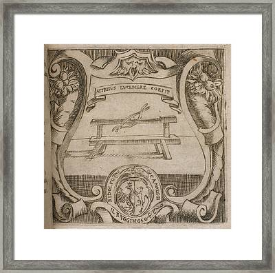 A Wooden Bench. Below Framed Print by British Library