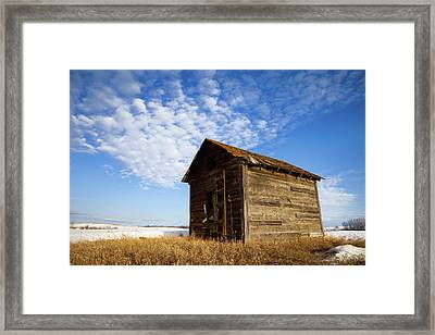 A Wooden Shed Stands Alone Framed Print by Steve Nagy