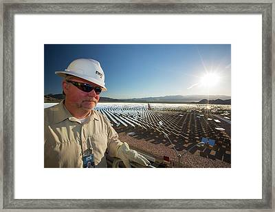 A Worker At The Ivanpah Solar Thermal Framed Print