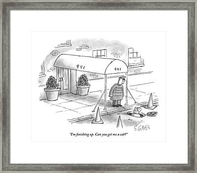A Worker Emerges From A Manhole And Asks Framed Print by Sam Gross