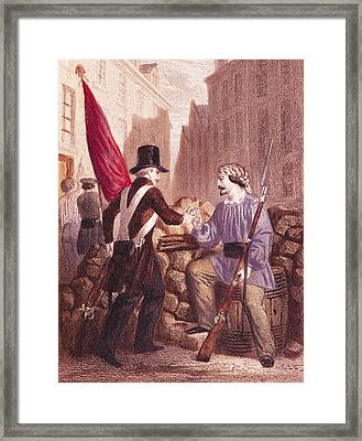 A Worker Sharing His Bread With A Student Carrying A Red Flag Framed Print