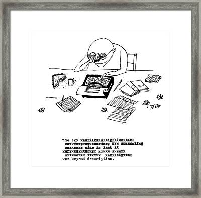 A Writer Relaxes Behind His Typewriter Framed Print by Edward Steed