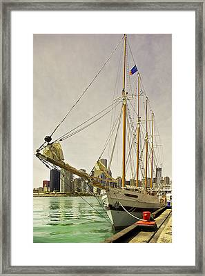 A Yacht Moored At Navy Pier Framed Print