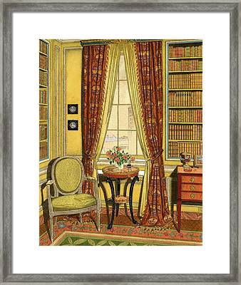 A Yellow Library With A Vase Of Flowers Framed Print