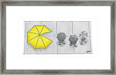 A Yellow Umbrella With A Pacman Mouth Framed Print