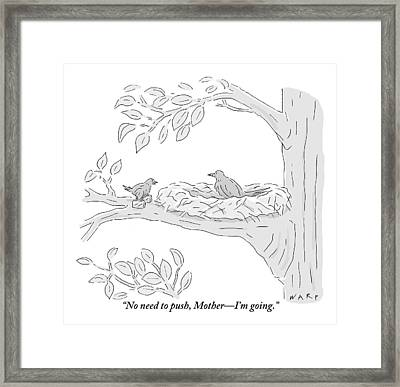 A Young Bird Carrying Two Small Suitcases Stands Framed Print