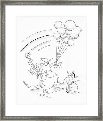 A Young Boy And A Balloon Vendor Framed Print by John Barbour