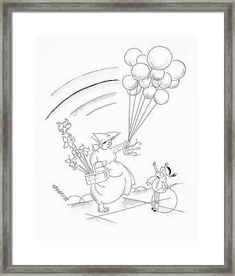 A Young Boy And A Balloon Vendor Framed Print