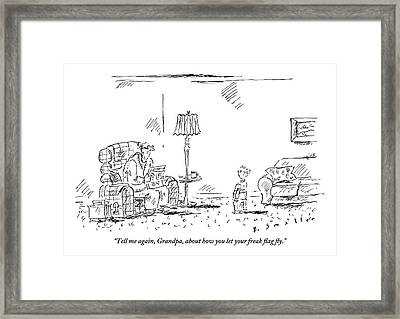 A Young Boy Asks His Grandfather Framed Print
