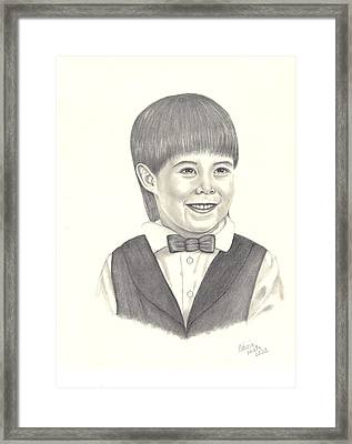 Framed Print featuring the drawing A Young Boy by Patricia Hiltz