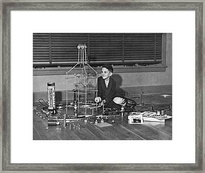 Boy With Tinker Toys Framed Print