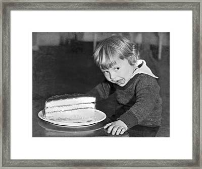 A Young Boy Ready For Cake Framed Print