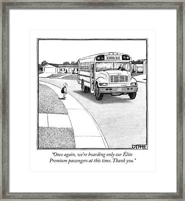 A Young Boy Waits Beside A School Bus Framed Print by Matthew Diffee