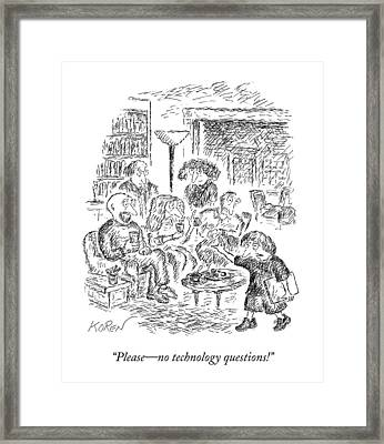 A Young Boy Walks Through A Room Of Adults Framed Print
