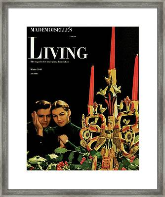 A Young Couple Next To A Candelabra Framed Print by Herman Landshoff