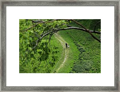 A Young Couple Walking In Cave Dale Framed Print