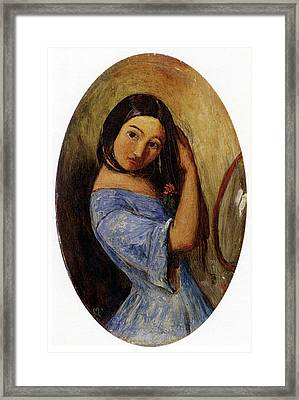 A Young Girl Combing Her Hair Framed Print by MotionAge Designs