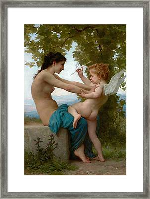 A Young Girl Defending Herself Against Eros Framed Print by Adolphe-William Bouguereau