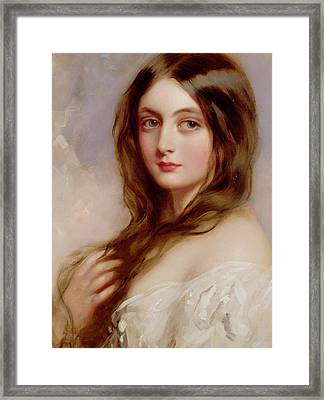 A Young Girl In A White Dress Framed Print