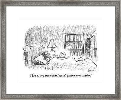 A Young Girl Wakes Up Her Sleeping Parents Framed Print by Pat Byrnes
