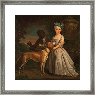 A Young Girl With A Dog And A Page Signed In Lower Right B Framed Print