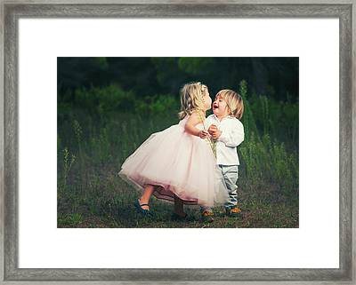 A Young Girl With A Pink Princess Dress Framed Print by Ben Welsh