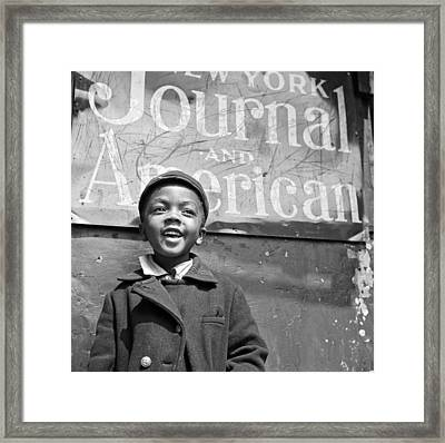 A Young Harlem Newsboy Framed Print