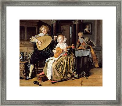 A Young Man Playing A Theorbo And A Young Woman Playing A Cittern, C.1630-32 Oil On Canvas Framed Print by Jan Miense Molenaer