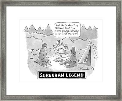 A Young Man Shares A Scary Story With His Two Framed Print by Danny Shanahan