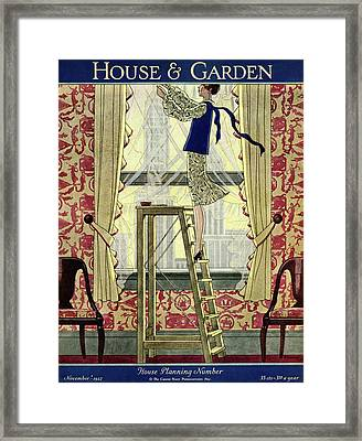 A Young Matron Adjusting Curtains Framed Print by Pierre Mourgue