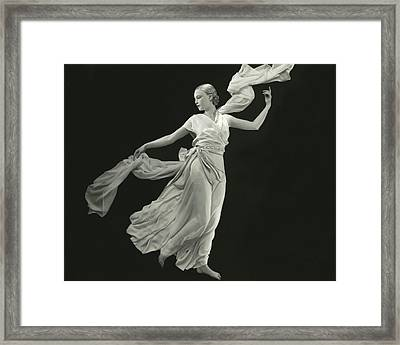 A Young Model Wearing A Vionnet Dress Framed Print
