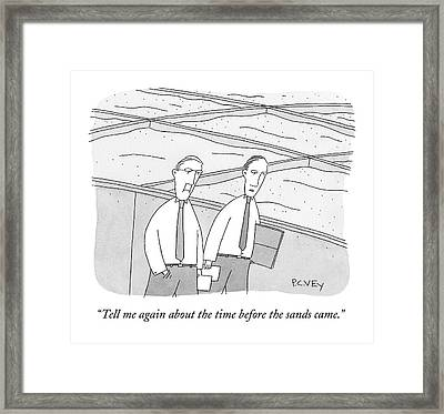A Young Office Employee Asks An Older Employee Framed Print by Peter C. Vey