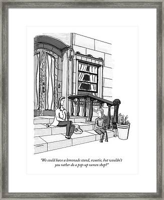 A Young, Rich Mother Tells Her Son, As They Sit Framed Print by Peter Berkowitz
