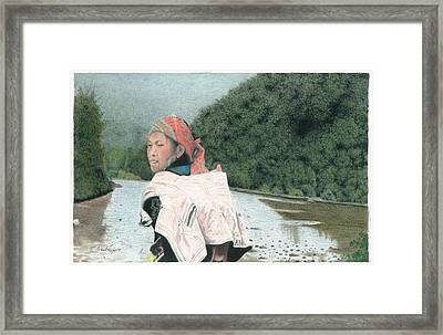 A Young Vietnamese Mother With Her Baby Framed Print by Wilfrid Barbier