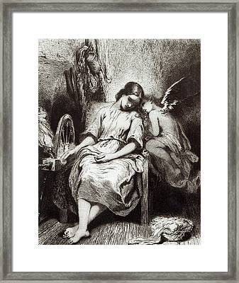 A Young Woman Dozing With An Angel Framed Print by Charles Nodier