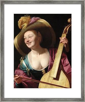 A Young Woman Playing A Viola Da Gamba Framed Print