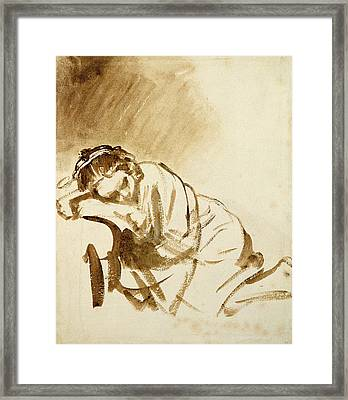 A Young Woman Sleeping Framed Print by Rembrandt Harmensz van Rijn